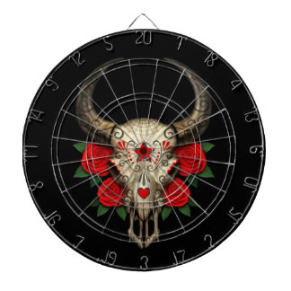 Bull Sugar Skull with Red Roses on Black Dartboards