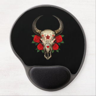 Bull Sugar Skull with Red Roses on Black Gel Mouse Mats