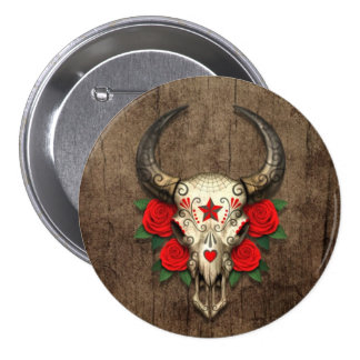 Bull Sugar Skull with Red Roses on Wood Graphic Button