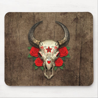 Bull Sugar Skull with Red Roses on Wood Graphic Mouse Pad