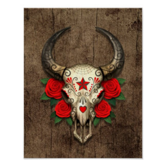Bull Sugar Skull with Red Roses on Wood Graphic Poster