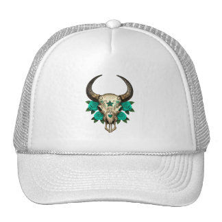 Bull Sugar Skull with Teal Blue Roses Mesh Hats