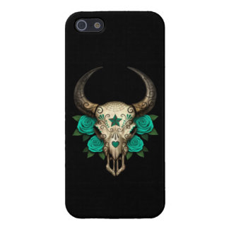 Bull Sugar Skull with Teal Roses on Black Cover For iPhone SE/5/5s