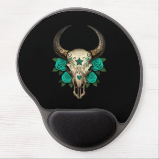 Bull Sugar Skull with Teal Roses on Black Gel Mouse Pads