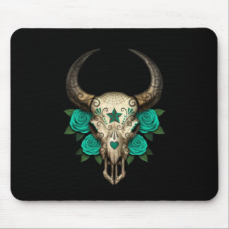 Bull Sugar Skull with Teal Roses on Black Mouse Pad