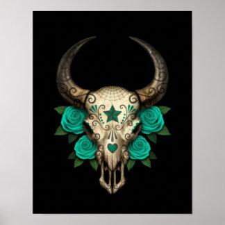 Bull Sugar Skull with Teal Roses on Black Poster
