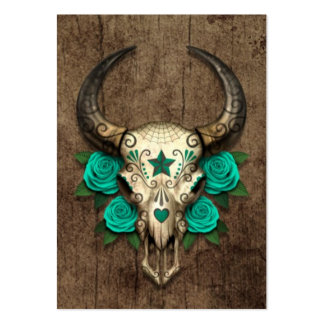 Bull Sugar Skull with Teal Roses on Wood Graphic Large Business Cards (Pack Of 100)