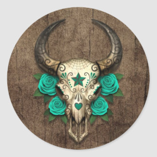 Bull Sugar Skull with Teal Roses on Wood Graphic Classic Round Sticker