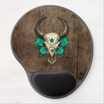 Bull Sugar Skull with Teal Roses on Wood Graphic Gel Mouse Pad