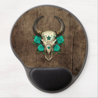 Bull Sugar Skull with Teal Roses on Wood Graphic Gel Mouse Mat
