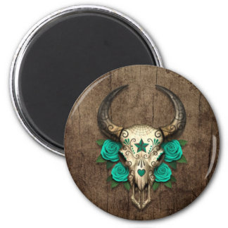 Bull Sugar Skull with Teal Roses on Wood Graphic Refrigerator Magnets
