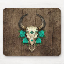 Bull Sugar Skull with Teal Roses on Wood Graphic Mouse Pad
