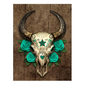 Bull Sugar Skull with Teal Roses on Wood Graphic Postcard