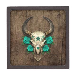 Bull Sugar Skull with Teal Roses on Wood Graphic Premium Keepsake Boxes