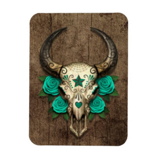 Bull Sugar Skull with Teal Roses on Wood Graphic Magnets