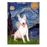 Bull terrier 4 - Noche estrellada (Vert) Tarjetas Postales