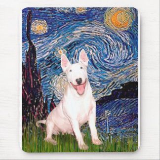Bull Terrier 4 - Starry Night (Vert) Mouse Pad
