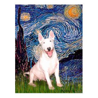 Bull Terrier 4 - Starry Night (Vert) Postcard