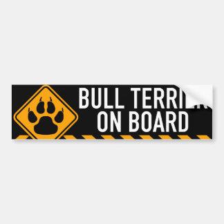 Bull terrier a bordo pegatina para coche
