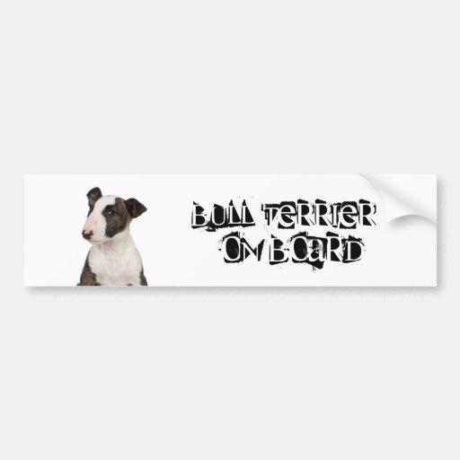 Bull terrier a bordo pegatina para auto