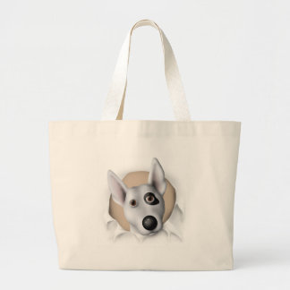 Bull terrier (americano) que revienta hacia fuera bolsas lienzo