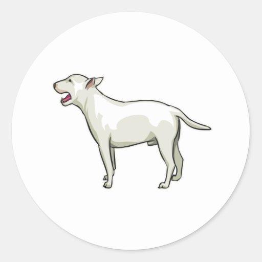 Bull terrier blanco, png pegatina redonda