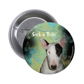 Bull Terrier Blue Butterfly 2 ¼ Round Button / Pin