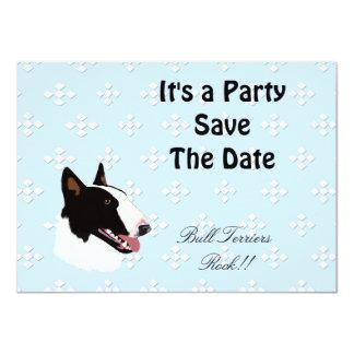 Bull Terrier ~ Blue w/ White Diamonds Design 4.5x6.25 Paper Invitation Card