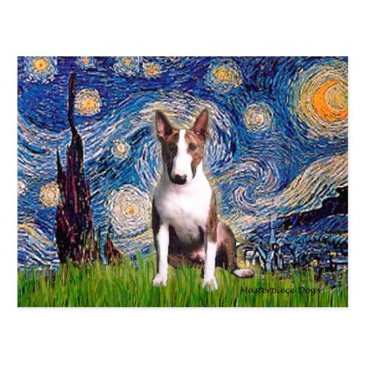 Bull terrier (Br) - noche estrellada Tarjeta Postal