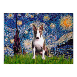 Bull Terrier Br - Starry Night Posters