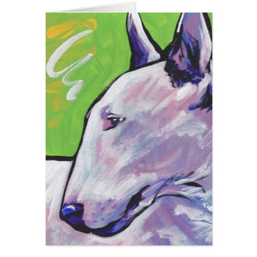 Bull Terrier Bright Colorful Pop Dog Art Card