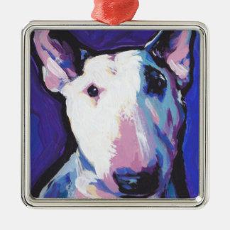 Bull Terrier Bright Colorful Pop Dog Art Square Metal Christmas Ornament