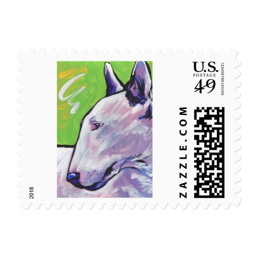 Bull Terrier Bright Colorful Pop Dog Art Postage Stamp