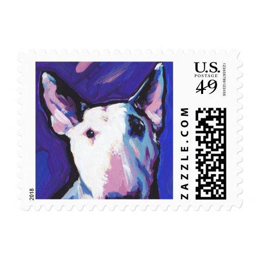 Bull Terrier Bright Colorful Pop Dog Art Stamp