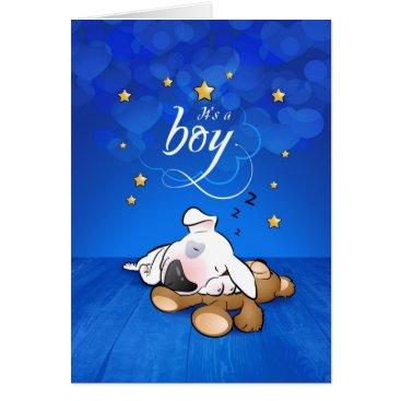 "Beach Themed Bull Terrier Cartoon Greeting Card ""It's a boy"""