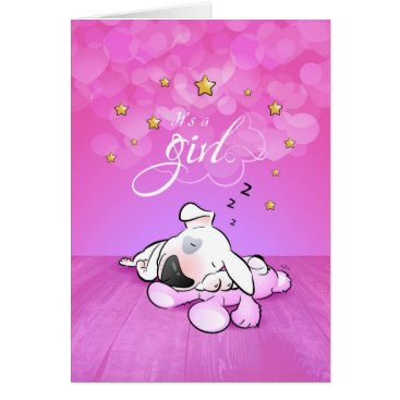 """Beach Themed Bull Terrier Cartoon Greeting Card """"It's a girl"""""""
