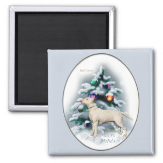 Bull Terrier Christmas Gifts 2 Inch Square Magnet