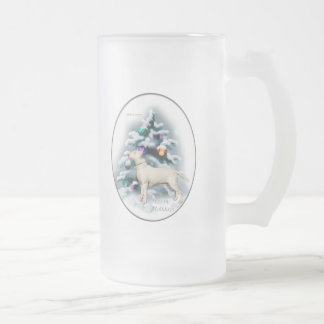 Bull Terrier Christmas Gifts Frosted Glass Beer Mug