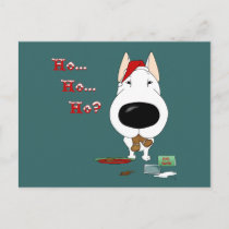 Bull Terrier Christmas Holiday Postcard