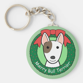 Bull Terrier Christmas Keychain