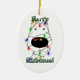 Bull Terrier - Christmas Lights Double-Sided Oval Ceramic Christmas Ornament