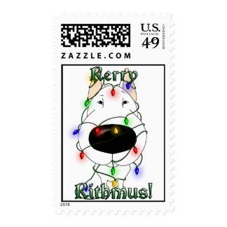 Bull Terrier Christmas Lights Postage Stamp