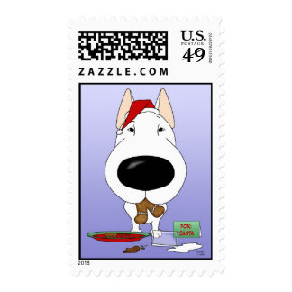 Bull Terrier Christmas Postage Stamps
