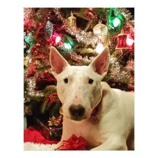 bull terrier christmas present tree letterhead