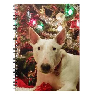 bull terrier christmas present tree notebook