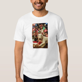 bull terrier christmas present tree tshirt