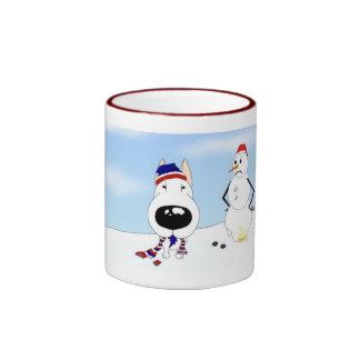 Bull Terrier Christmas Ringer Coffee Mug