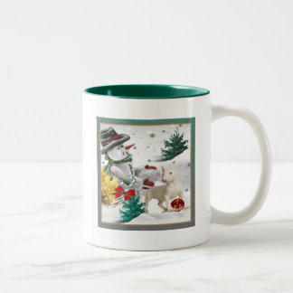 Bull Terrier Christmas with Snowman Two-Tone Coffee Mug