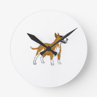 Bull terrier -- Coloreado Reloj Redondo Mediano