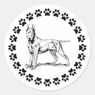 Bull terrier con Pawprints Pegatina Redonda